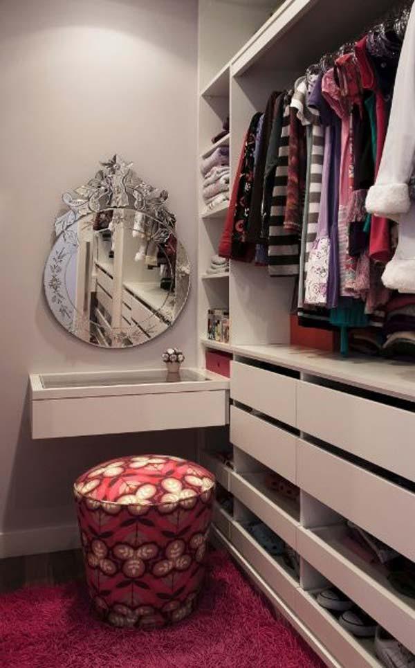 closet com puff na decoração