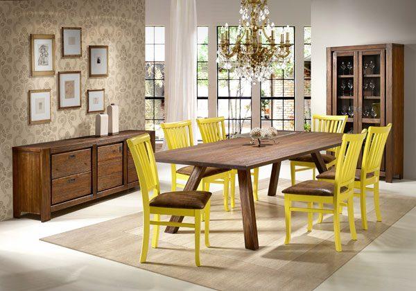 cadeiras amarelas na decoração da sala de jantar