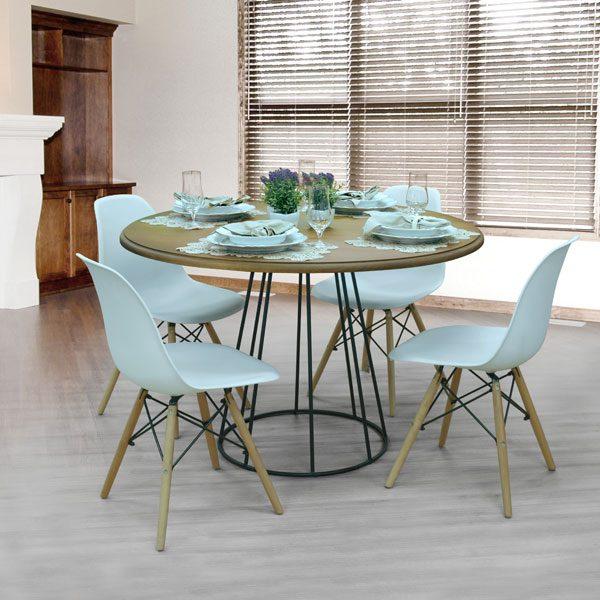 cadeira eiffel branca na decoração da sala de jantar