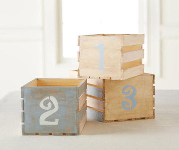 caixotes de madeira organizadores na decoração