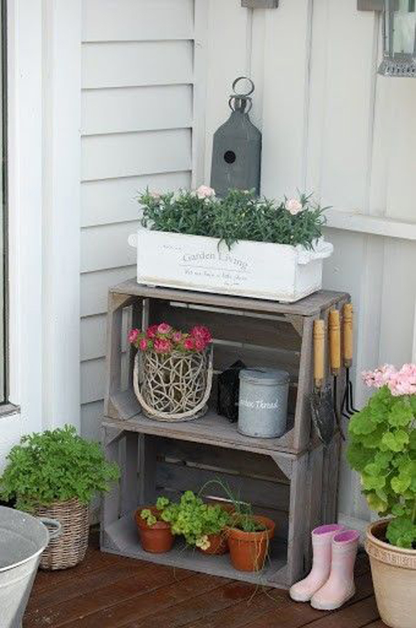 reutilizar caixotes de madeira na área externa