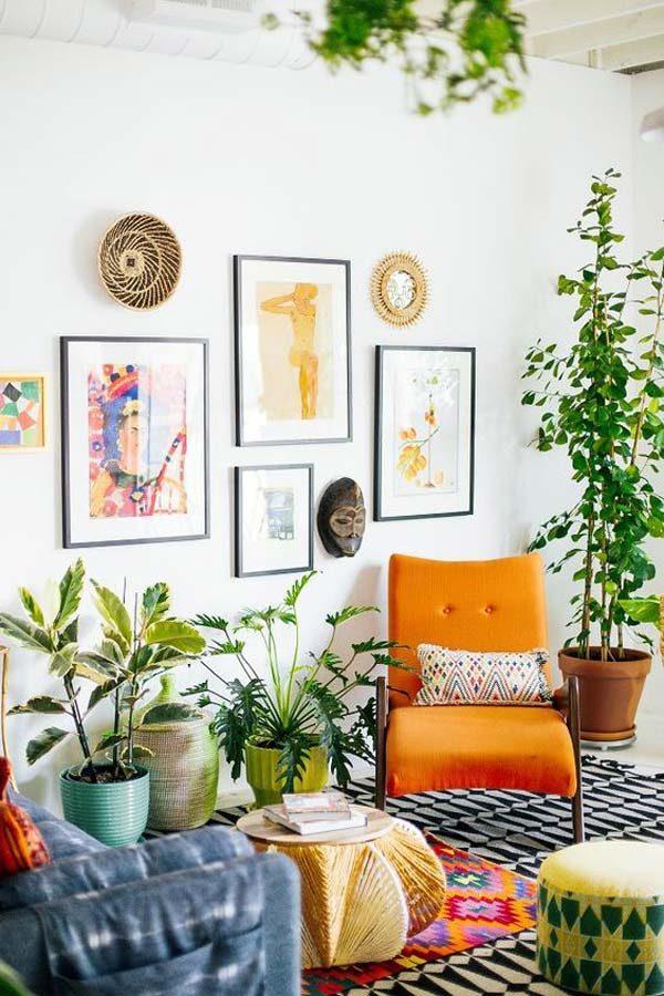 decoração boho com plantas