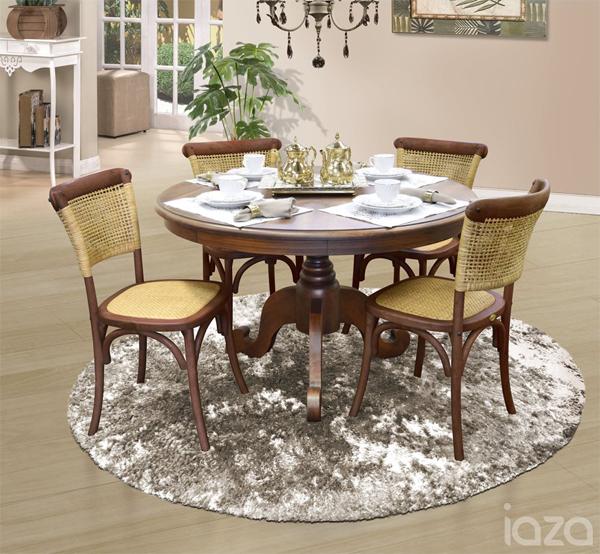 mesa redonda de madeira Troia