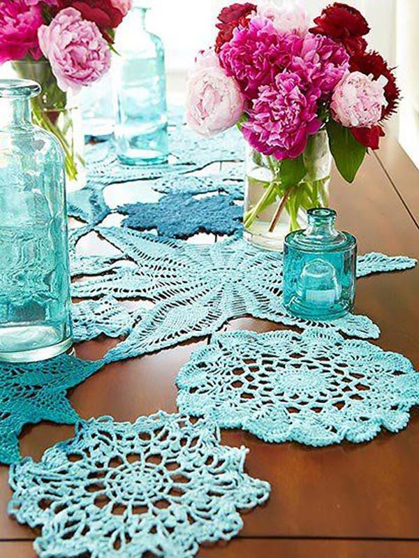 croche na decoração da mesa