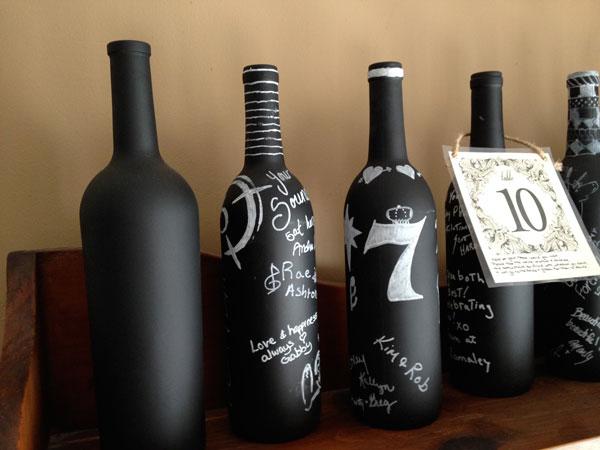 Garrafa de vinho com lousa