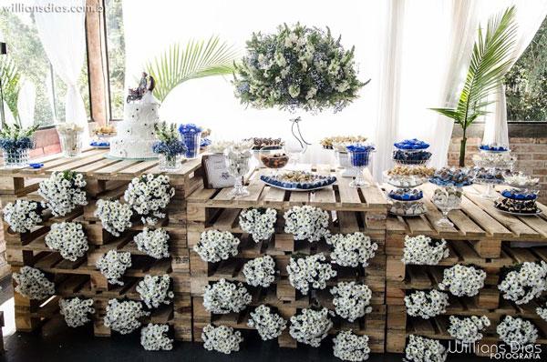 Pallet na decoração de casamento