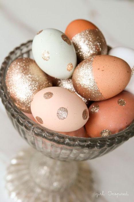 cascas de ovos com glitter