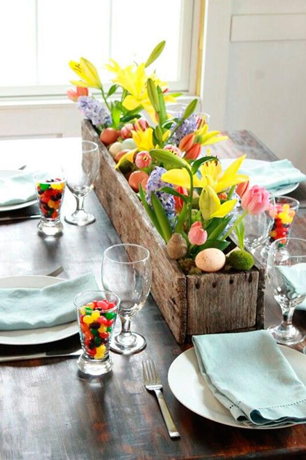 mesa de Páscoa decorada