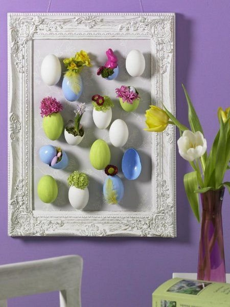 quadro com cascas de ovos para páscoa