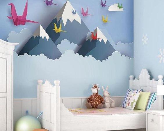 papel de parede no quarto infantil