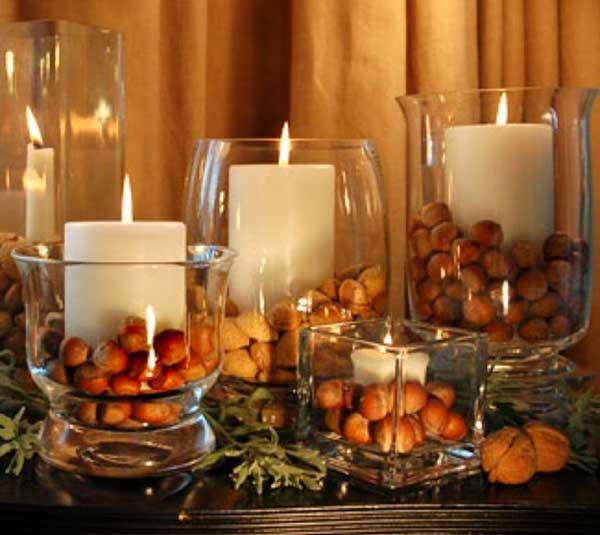 Velas com grãos na decoração