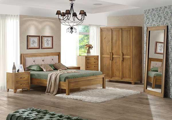 Jogo de quarto de madeira maciça