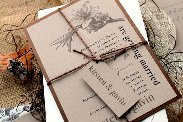 Convite papel craft