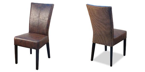 Cadeira de madeira e couro - Tudo por menos