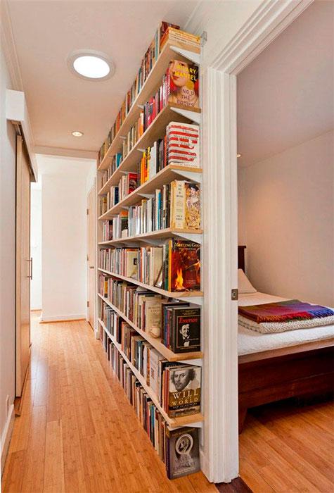 corredor com livros