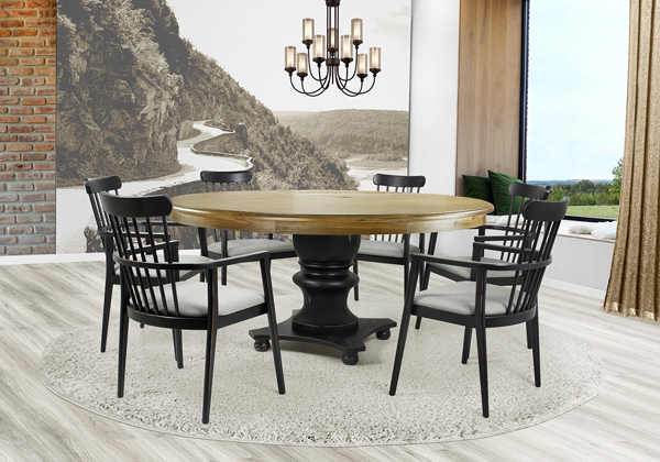 Mesa de madeira redonda Filomena