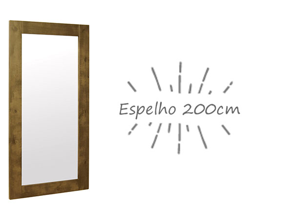 Espelho com moldura de madeira