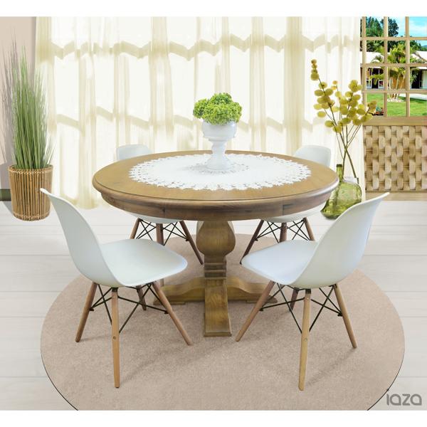 mesa redonda de madeira 4 lugares