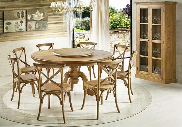 mesa redonda de madeira Phil