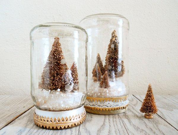 globos de neve na decoração de natal