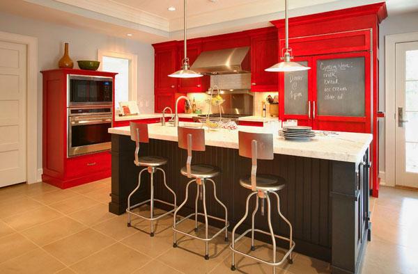 cinza com vermelho na decoração