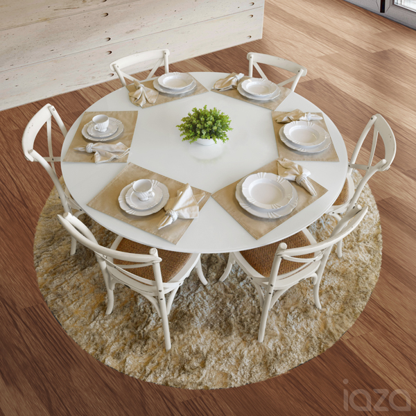 mesa branca redonda com base torneada