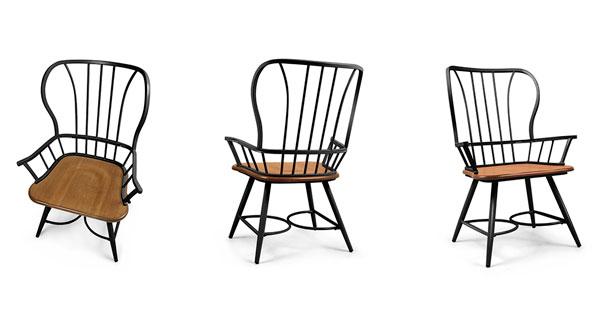 cadeira de madeira e metal com braço