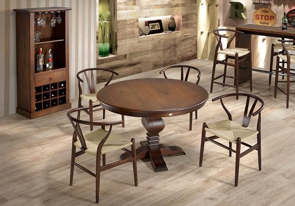 mesa de jantar redonda rústica