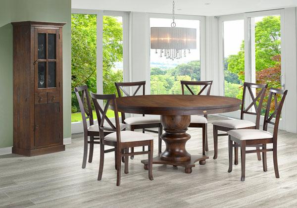 Mesa rústica redonda de madeira maciça
