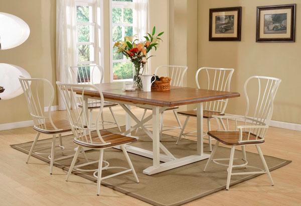 conjunto de sala de jantar de madeira e metal