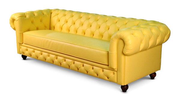 Sofá Chesterfield amarelo Mozart Iaza