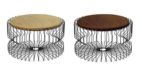 mesinhas aramadas em metal e madeira
