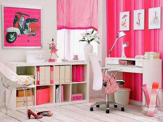 escritório cor de rosa