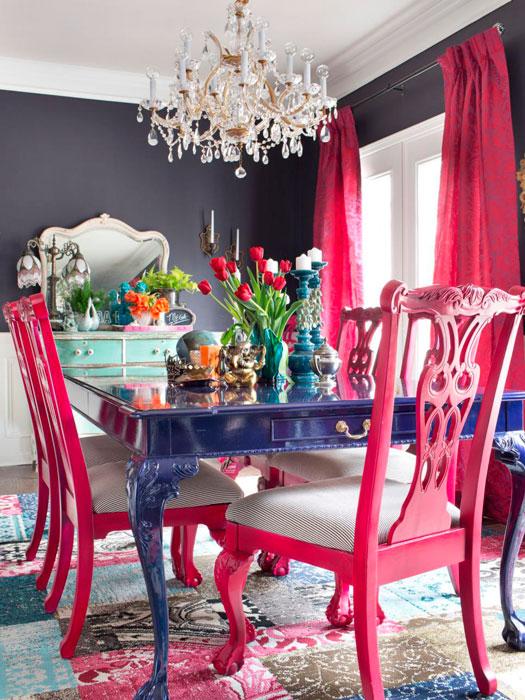 cadeiras rosa na decoração