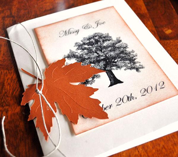 convite para casamento no outono