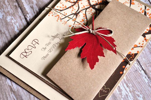 convite para casamento de outono