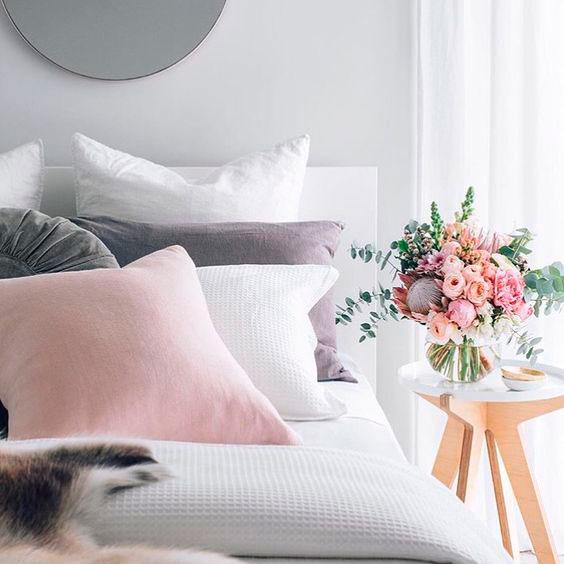 rosa e cinza na decoração