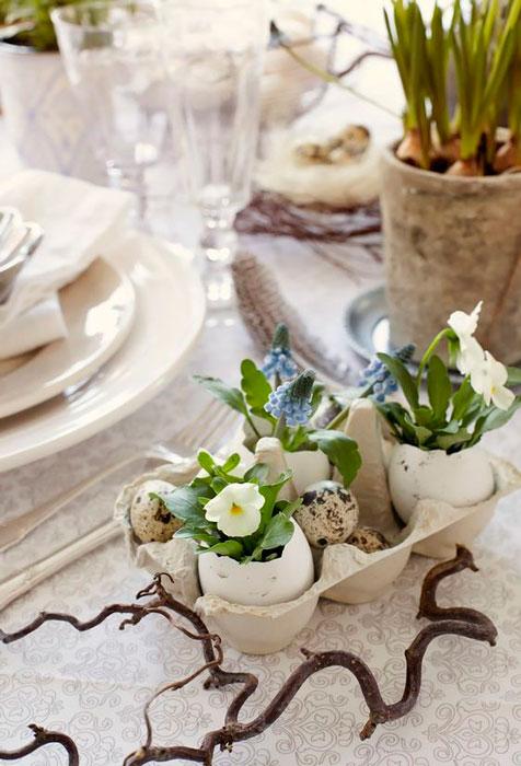 caixas de ovos na decoração econõmica