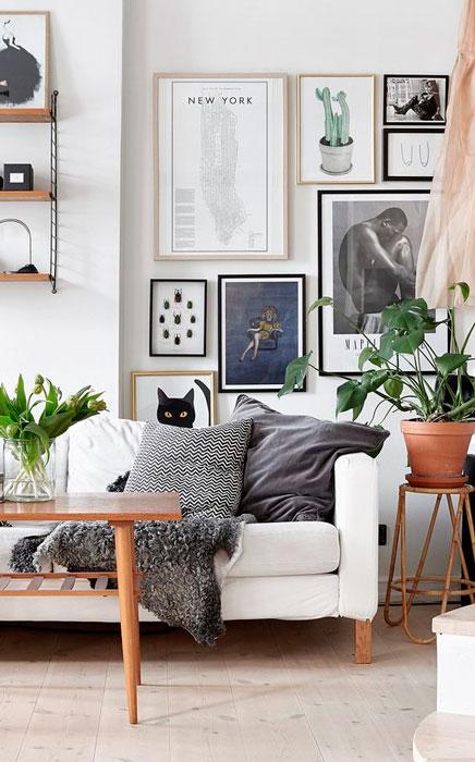 quadros na decoração da sala de estar