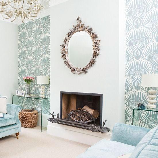 sala de estar com papel de parede
