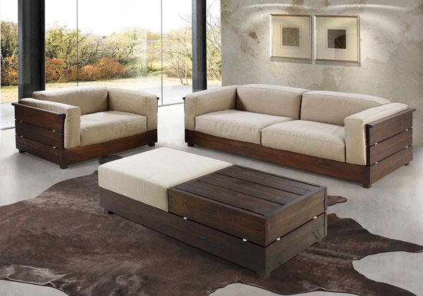 sofá de madeira na decoração