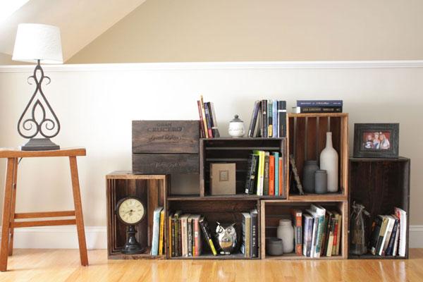 decoração econômica com caixotes de madeira