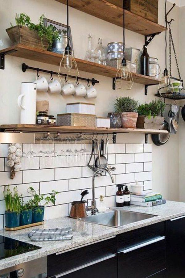 espaço gourmet com prateleiras