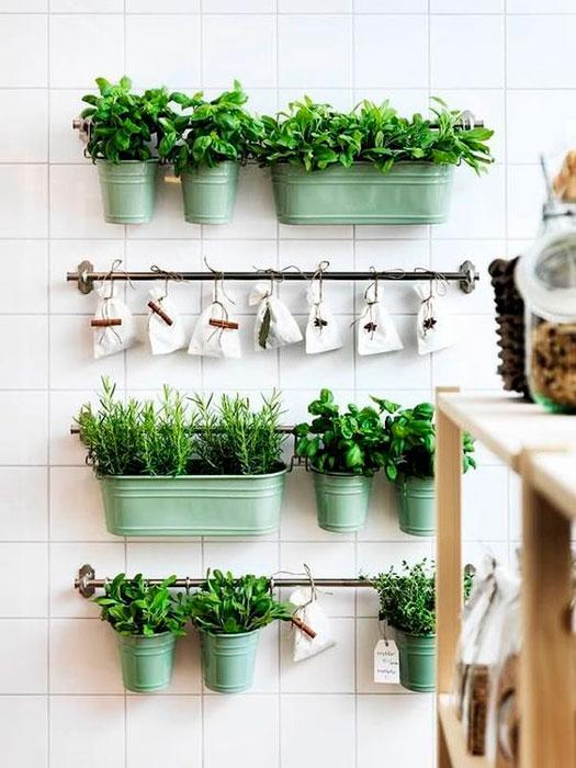 horta vertical no espaço gourmet