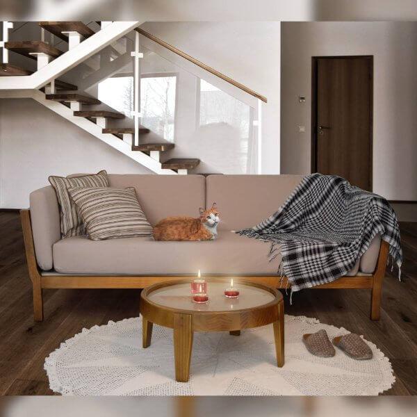 sofá de madeira para sala rústica