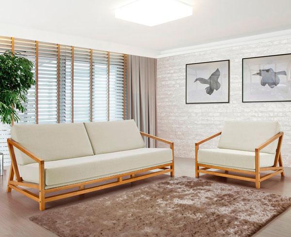 Sofás de madeira na decoração - iaza blog