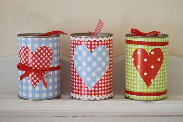 latas de aluminio na decoração