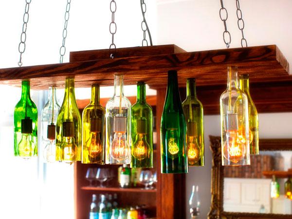 luminária de garrafa de vidro