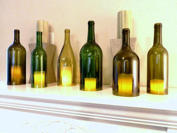 garrafas de vinho na decoração