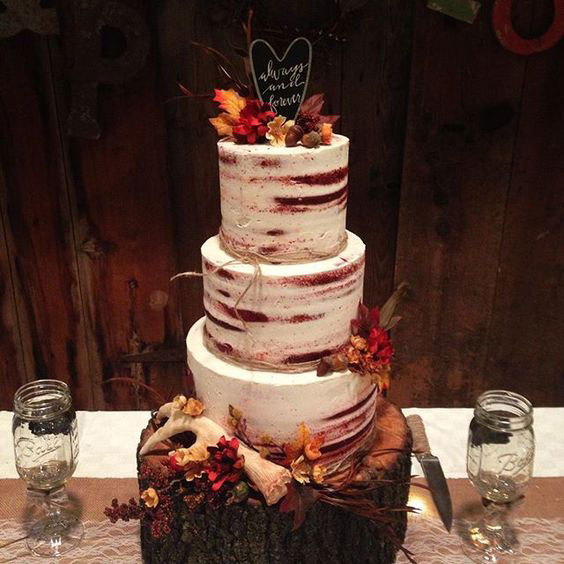 bolo para casamento no outono
